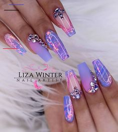 using Glitterbels core powder in:- Sugared Almond Snowdrops White and Glass Slippers. Colour Powders in :- petal candy violet… Purple Acrylic Nails, Summer Acrylic Nails, Purple Nails, Violet Nails, Dope Nails, Bling Nails, Bling Wedding Nails, Bling Nail Art, Fabulous Nails