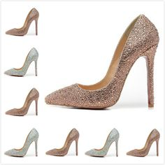 12cm High Heel Women's Brown Rhinestone Pointed Toe Red Bottom Pumps,Ladies Luxury Fashion Slip On Wedding Party Nude Shoes $91.95