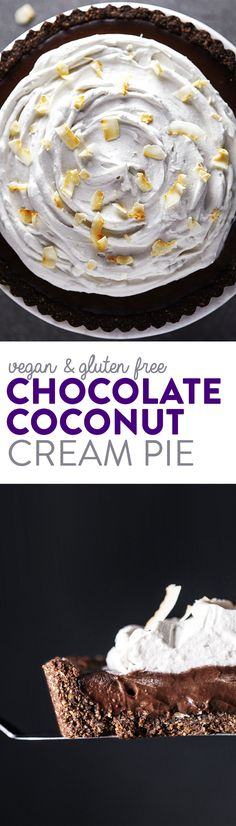 This pie is what dreams are made of. Features a creamy, decadent chocolate filling topped with fluffy coconut whipped cream. The chocolate hazelnut crust is packed with flaky coconut and is good enough to be eaten on its own. An impressive dessert that's sure to impress. No dairy or flour, and no refined sugar! Vegan & Gluten Free.