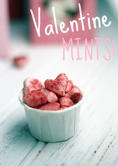 Homemade valentine mints with edible glitter