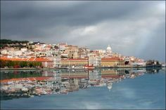 Lisbon city reflected in water (Portugal)