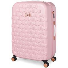 Ted Baker Beau Pink 4 Wheel Large Suitcase ($350) ❤ liked on Polyvore featuring bags and luggage