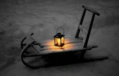 Old wooden sled and lantern - (winter, rustic, country Christmas)