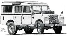 Pen & Ink Drawing - Land Rover by PetesPiccies on Etsy Land Rover Series 3, Land Rover Defender 110, Discovery Car, Lander Rover, Land Rover Car, Ink Pen Drawings, Truck Art, Car Bumper Stickers, Strollers