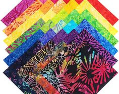 "Timeless Treasures RAINBOW TONGA BATIKS Precut 6.5"" Fabric Quilting Cotton Squares Floral Entire Collection"