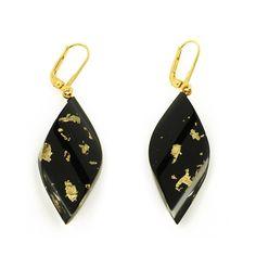 Ohrhänger schwarz mit Goldmetall-Einschluss* Black Earrings Acrylic with Goldmetal inside * Pyramonte Berlin