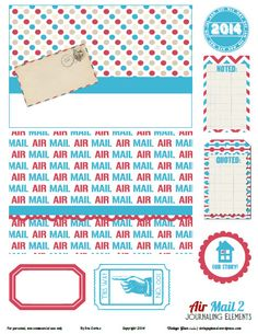 Free Printable Airmail Journal Elements