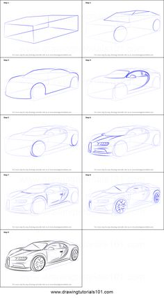 How to Draw Bugatti Chiron printable step by step drawing sheet : DrawingTutorials101.com