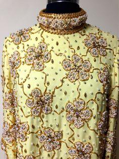 Vintage 1960s Heavly Beaded Runway Sheath Dress by pinkpoppyvintage on Etsy