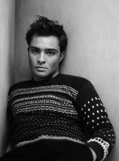 ed westwick - cannot say that I like his Christmas sweater, but man, look at those cheekbones!!
