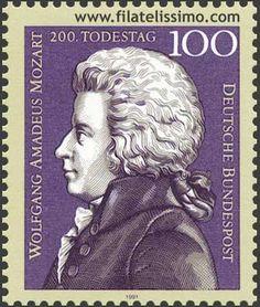 Wolfgang Amadeus Mozart (1756-1791) Postzegel van de Deutsche Bundespost t.g.v. de 200e sterfdag van Mozart.