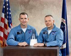 Gemini VIII Crew  Astronauts David R. Scott (left), Pilot; and, Neil A. Armstrong (right), Command Pilot, pose with model of the Gemini Spacecraft after being selected at the crew for the Gemini VIII mission.  Image Credit: NASA