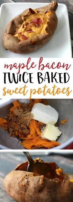 Maple Bacon Twice Baked Sweet Potato Recipe - Perfect for an Autumn lunch or even for a Thanksgiving dinner side dish! #JimmyDeanBacon #ad