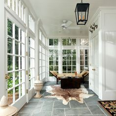 Sunroom with French Doors. Lovely Sunroom with French Doors. Traditional Porch, Traditional Interior, Contemporary Interior, Traditional Design, Sunroom Decorating, Sunroom Ideas, Porch Ideas, Three Season Room, Sunroom Furniture