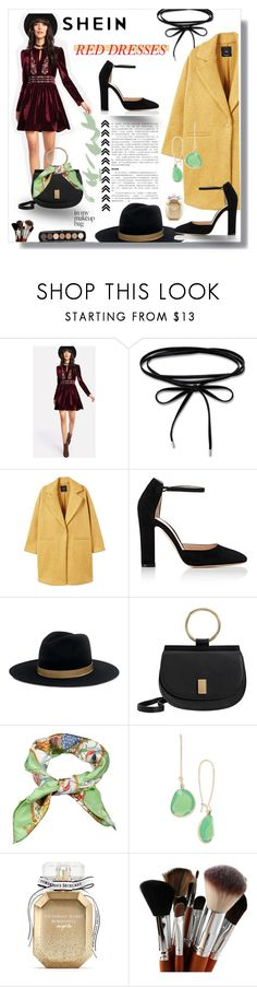 """Shein Red Velvet dress"" by dchatzin ❤ liked on Polyvore featuring MANGO, Gianvito Rossi, Janessa Leone, Gucci, Kenneth Cole, Victoria's Secret and Marc Jacobs"