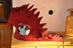 Felted cat dragon bed