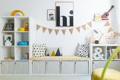 Anzeige// Unser Spielzimmer und 6 Dinge, die jeden Raum im Handumdrehen dazu mac… Advertisement // Our playroom and 6 things that turn any room into an instant plus Ikea hack for dots: ‹fräulein flora PHOTOGRAPHY Playroom Storage, Playroom Design, Playroom Decor, Kids Room Design, Baby Room Decor, Ikea Storage Cubes, Kids Storage, Storage Spaces, Ikea Hack Bedroom
