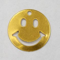 16mm Brass Smiley Face 6 Pcs 2456 by GeneralBead on Etsy (Craft Supplies & Tools, Jewelry & Beading Supplies, Charms, general bead, charm, vintage, raw brass, smiley face, happy, smile, smiling, 16mm, round)