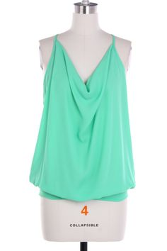 Mint Twisted Open Back Top