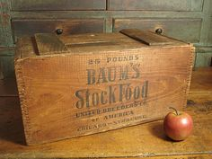 Great Old Wooden Baum's Stock Food Crate Box w. Sliding Lid ~ Advertising   $79