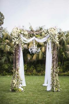 Wedding arch with chandelier