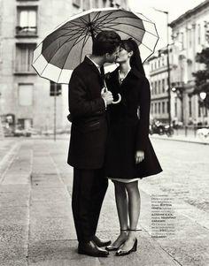 Love Story by Nikolay Biryukov for Elle Ukraine September 2012 – Black and White - Photography - Portrait - Couple- Love Couple In Love, White Couple, Foto Casual, Under My Umbrella, Clear Umbrella, White Umbrella, Mode Editorials, Fashion Editorials, Engagement Shoots