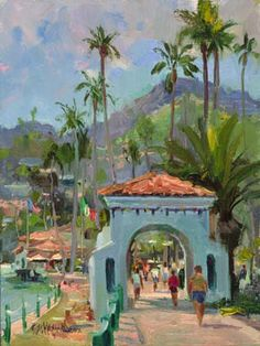 """Sunny Afternoon Catalina,"" huile sur la toile, 9x12, Kenn Backhaus"