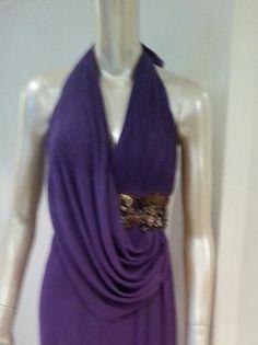 Special couture design. .purple silk chiffon dress...