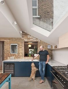 interior of modern extension with rooflights - gardenshed House Extension Plans, House Extension Design, Extension Designs, Extension Ideas, Open Plan Kitchen Dining Living, Open Plan Kitchen Diner, Open Plan Living, Garden Room Extensions, House Extensions