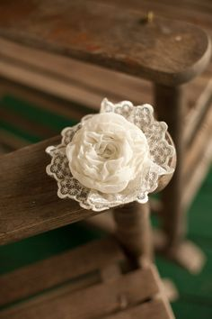 Bridal and Bridesmaid Hair Accessory: Ivory, Cream, Chiffon Ruffle Flower, Vintage Style Comb with Eyelet Lace