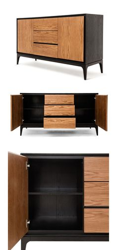 Store your things without a shelving unit with the Caterina Sideboard. Boasting three drawers and two doors that conceal interior shelving, this high-contrast piece has plenty of room for just about anything. Small Furniture, Cabinet Furniture, Wooden Furniture, Furniture Design, Muebles Living, Consoles, Furniture Inspiration, Sideboard, Woodworking