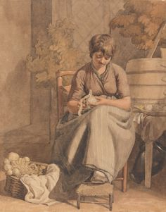 A Girl Peeling Vegetables. Joshua Cristall. Between 1810 and 1815.