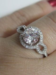CZ Halo Round Cut Engagement Ring CZ Engagement by MILAVIJEWELRY