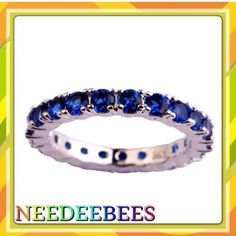 Noble Sapphire eternity ring Beautiful Sapphire set in sterling silver Jewelry Rings