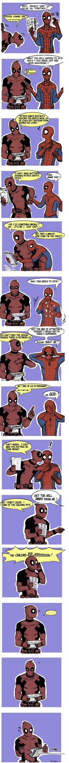 Looks like spidey found out that spideypool is a thing XD