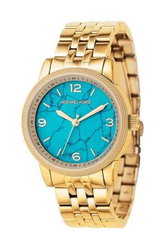 Turquoise face + stunning gold band = me wishing I could afford what Michael Kors designs.