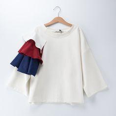 Almoda 2016 Summer Designer Clothing 3D Ruffle Sleeve 3 Quarter Pullover Women T shirts White Gray Female Loose Casual Tee Shirt