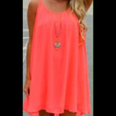 Beautiful Coral Summer Dress or Beach Cover Up! Beautiful Summer Dress or Beach Cover Up!  The color is a bright coral. Swim Coverups