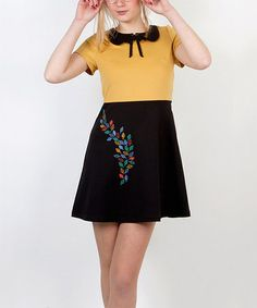 Take a look at this Yellow & Black Leaves Bow Dress by Titis Clothing on #zulily today!