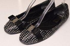 Woven Black Raffia SALVATORE FERRAGAMO Logo Bow Ballet Flats Skimmers Shoes Sz 11Our price: $79.00http://2tymingthreads.com/index.php?l=515655