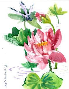 Chinese Brush Painting,Wall Art Dragonfly  and Lotus Flowers feng shui original art by suren by ORIGINALONLY on Etsy
