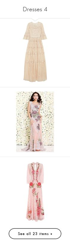 """Dresses 4"" by katlaboesche ❤ liked on Polyvore featuring dresses, gowns, beige, pink evening gowns, floral dresses, sequin evening gowns, pink sequin dress, sequin dress, formal dresses and peach"