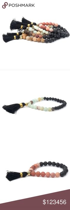 COMING SOON* Like listing to be notified! Black Tassel Raw Stone Bracelet Natural raw matte precious black lava and amazonite stones with tassels. Handcrafted with  in the USA. Twilight Gypsy Collective Jewelry Bracelets