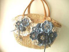 かごバッグに、デニムのお花やレースでデコレーションしました。|ハンドメイド、手作り、手仕事品の通販・販売・購入ならCreema。