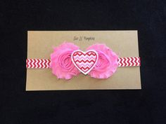Red and Pink Chevron Heart Headband perfect for Valentine's Day!