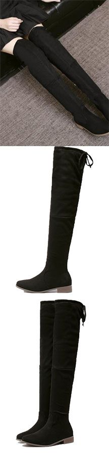 Fall Black Suedette Tied Back Thigh High Boots by Stayingsummer!