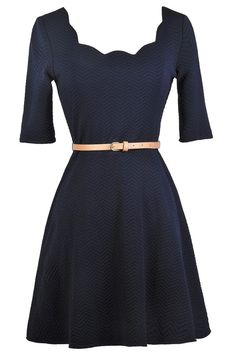 Lily Boutique In The Navy Scalloped Neckline Belted Dress, $38 Navy A-line Dress, Cute navy Dress, Navy Three Quarter Sleeve Dress www.lilyboutique.com