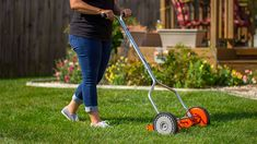 It includes a three-spider one-blade reel. Deluxe hand-reel mower ideal for most turf grasses. Tempered Alloy Steel Reel and Bed Knife Blade. Smooth-spinning blades, easy-roll wheels, and height adjustability.