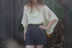 weekend diy: caftan by bloomingleopold, via Flickr Navy blue high-waisted shorts pastel green pink top necklace