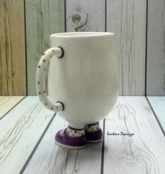 Cute mug, Purple Shoes Cup, White Ceramic Mug, Novelty Cup, Spotty Socks, coffee mug, mug, hand painted mug, unique mug, porcelain mug Gift by WalkingPottery on Etsy